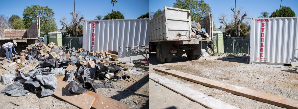 Junk removal at a Los Angeles home. Before and after banner image of garbage being hauled away.