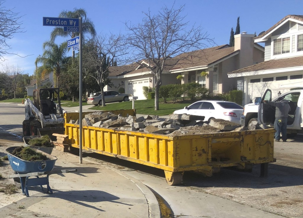 Dumpster-full of concrete during home remodeling project