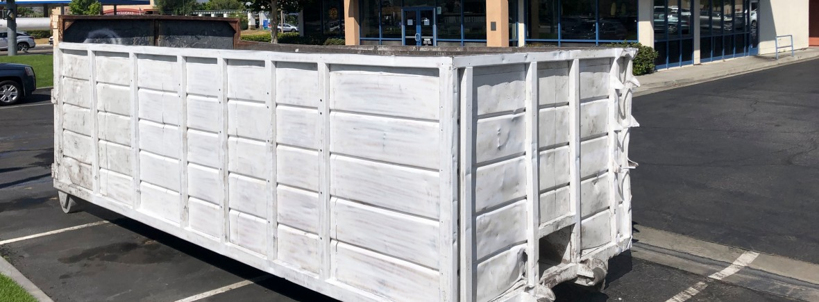 Dumpster being rented in Boston Market in Saugus